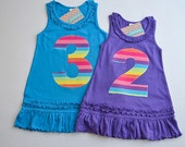 Girls Birthday Dress Choose Number Rainbow Applique Number Tank Top Dress 1st 2nd 3rd 4th 5th Birthday Purple or Teal Rainbow Party Ruffle
