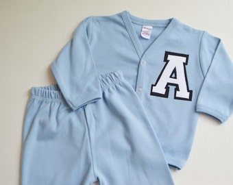 READY TO SHIP Baby Boy Letterman Jacket and Pant Set with Personalized Letter A Varsity Cardigan