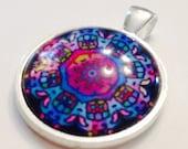 MANDALA berry colors Glass tile pendant New!!