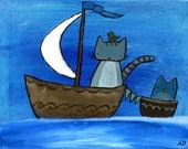 The Moon Sail Cat in Boat Whimsical Kids Art Print Wall Art Nursery Decor Ocean Storybook Children's Art