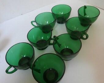 8 Green Glass Coffee Cups Circa 1950s