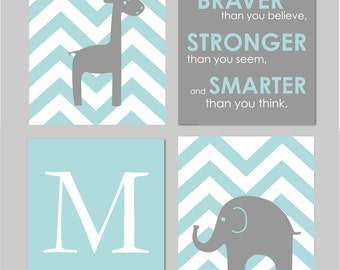 Elephant Nursery, Teal Nursery Decor, Giraffe Nursery, Always Remember You are Braver, Teal and Grey, Baby Nursery Wall Art, Set of 8x10s