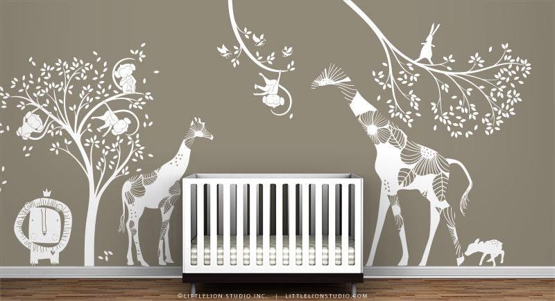 blanc ensemble de sticker mural salle de jeux pour enfants. Black Bedroom Furniture Sets. Home Design Ideas