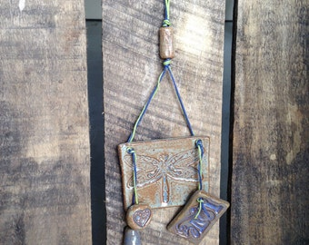 Sweet dragonfly and love wall hanging