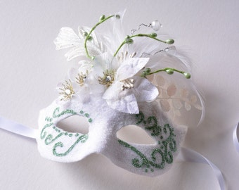 MASK- Frosty White and Mint- masquerade mask, Mardi Gras,ballroom,fairy,Venetian,Halloween