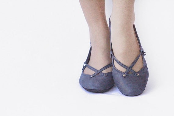 Navy - Handmade Leather ballet flat shoes - CUSTOM FIT