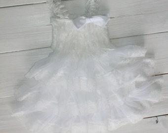 CLEARANCE...White Rustic Lace Chiffon Dress ....Flower Girl Dress, Wedding Dress, Baptism Dress  (Infant, Toddler, Child)