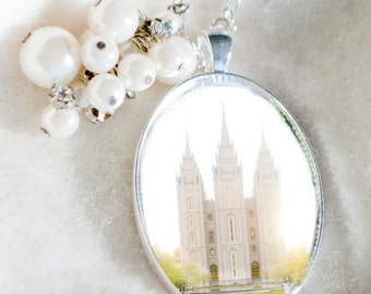 Salt Lake LDS Temple necklace  Mormon Ogden Brigham Bountiful