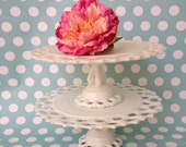Vintage milk glass cake stand with Lacy  pattern