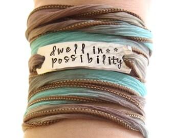 Dwell In Possibility, Wrap Bracelet, Bohemian Jewelry, Boho, Boho Jewelry, Silk Wrap Bracelet, Custom Bracelet, Personalized Jewelry