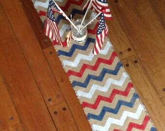 Patriotic Chevron Burlap Table Runner Red, White and Blue Picnic  Jute Tablerunner