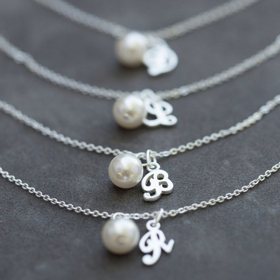 bridesmaid bracelet charm initial pearl jewelry gift set of
