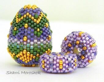 Beaded Beads set of 3 - by Sharri Moroshok - purple green gold