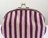 Free shipping - Handmade Coin Purse in Purple Striped