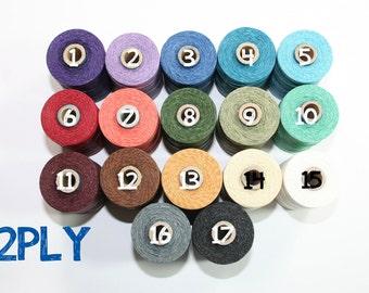 2 PLY Waxed Irish Linen Thread 17 Color Options