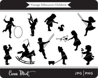 Vintage Silhouette Children Clip Art
