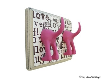 Dog Leash Holder - Double Tail - Live. Laugh, Love - Personalize with Optional Letter Tiles