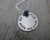 """Wife Necklace- """"my wife my best friend"""" -Hand-Stamped Necklace with an accent bead in your choice of colors"""