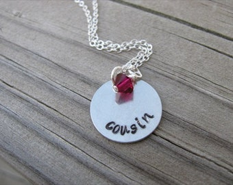 """Cousin Necklace, Hand-Stamped Necklace """"cousin"""" with an accent bead of your choice"""