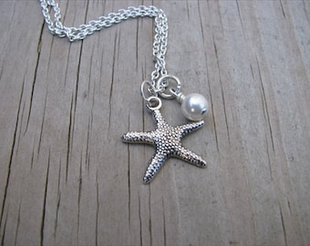Silver Starfish Necklace with Pearl Accent Bead