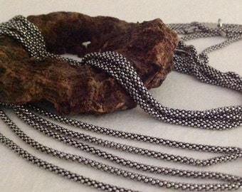 "Boho 18"" Necklace - OXIDIZED Sterling Silver Chain - Finished 18 inches -  CH116"