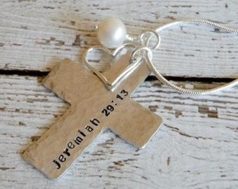 Cross Necklace with Bible Verse and Heart - Faith Jewelry - Personalized Hand Stamped Cross