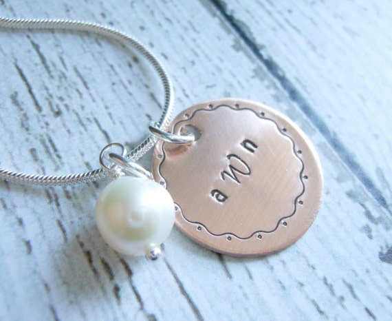 Personalized Monogram Necklace - Copper Hand Stamped Monogram with Sterling Chain