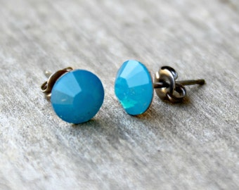 Titanium Earrings, Swarovski Caribbean Blue Opal Swarovski Crystal, Hypoallergenic