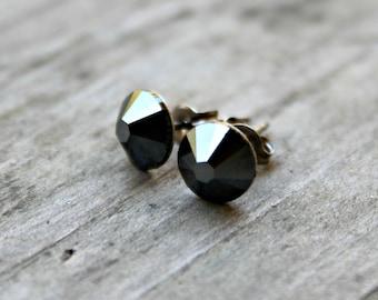 Titanium Earrings, Jet Hematite Gray Swarovski Crystal, Hypoallergenic