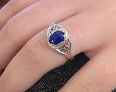 Original filigree design, handcrafted sterling silver filigree and 8x6 mm lapis lazuli, ring size 7