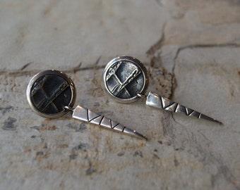Long Dangle Silver Earrings, Sterling Silver Earrings, Long Textured Silver Earrings, Silver Stick Earrings, Dangle Stud Earrings.