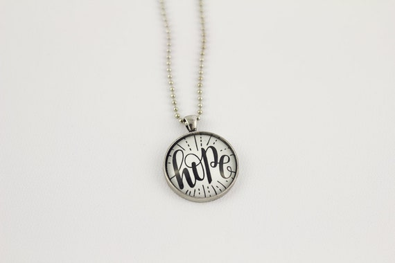 Hope - Pendant necklace with hand lettering by Joy Kelley