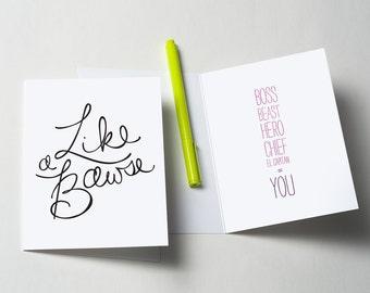 Like A Bawse Greeting Card