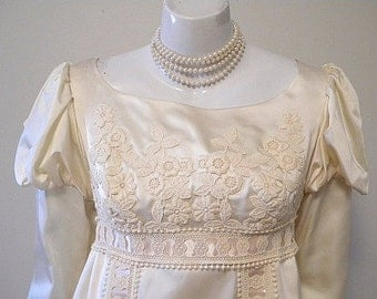 1960s Vintage Renaissance Style Satin Wedding Dress, Train & Veil