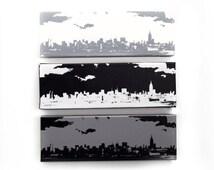 New York Skyline Canvas: Monochrome Trio (12 x 4 inches each, Black, White, & Gray) Screenprint/Painting, Black and White Home Decor