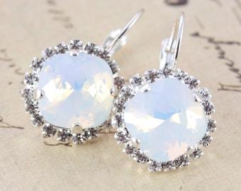 White Opal Earrings Swarovski Crystal Earrings Clip On Avail Halo Octagon Silver Leverback Bridesmaids Earrings Silver Octagon White Jewelry