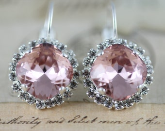 Pink Earrings Swarovski Crystal Earrings Vintage Rose Jewelry Silver Earrings Bridesmaids Earrings Crystal Earrings Bridal Party Gift Pink
