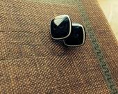 Hip Squares - Vintage button stud earrings - vintage button jewelry - Button jewellery - Post Earrings