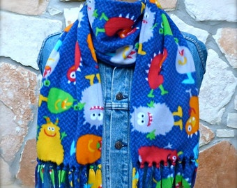 Monster Fleece Scarf , Kids Fleece Scarf , Kids Scarf , Kids Winter Scarf , Fun Fleece Scarf