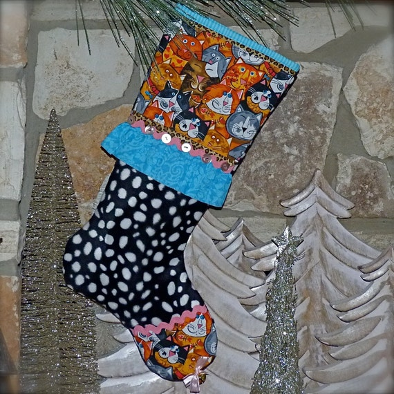 Cat Christmas Stocking ...... Kitty Cat Christmas Stocking ....... Meowy Christmas
