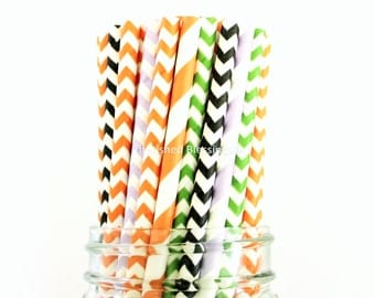 Paper Straws, Fall, Orange Purple Lime Black, Party, Cake Pop Sticks, Paper Drinking Straws, Chevron, Favors