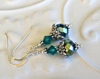 Short Green Blue Crystal Earrings in Silver