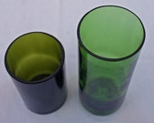 set of two recycled green wine bottle vases