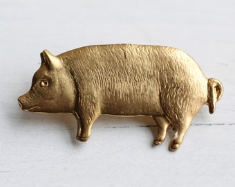 Pig Brooch ... Vintage Gold Piglet Animal Farm Napoleon Pork