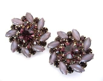 Vintage Rhinestone Earrings - Rhinestone and Satin Glass Cabochon Earrings - Amethyst