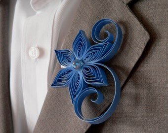 Cornflower Blue Boutonniere, Blue Men's Wedding Bout, Faded Blue Buttonhole, Cornflower Alternate Boutonniere, Men's Wedding Boutonnieres