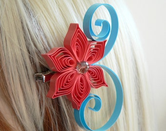 Red Coral and Aqua Wedding Hair Accessory, Bridesmaid Gift, Red Coral Wedding, Aqua Wedding