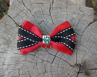Olivia Paige -Punk rock Rockabilly  cherries  Pin Up  stripes hair clip