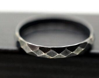 Black Diamond Ring, Minimalist Ring, Oxidized Silver Ring, Silver Stacking Ring, Men's Wedding Band