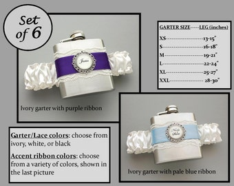 Six (6) Personalized Flask Garters for Bridesmaids: Wedding Party Gift Set - Choose Your Colors